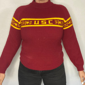 Vintage 1970s University of Southern California USC Trojans Mockneck Sweater - S