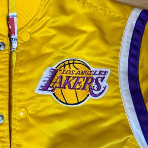 Vintage 1980s Los Angeles LA Lakers Satin Bomber STARTER JACKET - Youth Medium / Adult XS