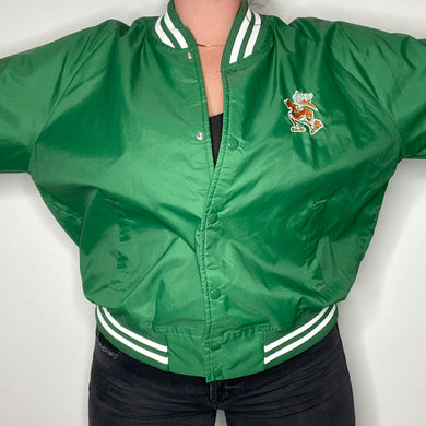Vintage Early 90s University of Miami Hurricanes Old Logo Chalk Line Bomber Jacket Windbreaker - XL