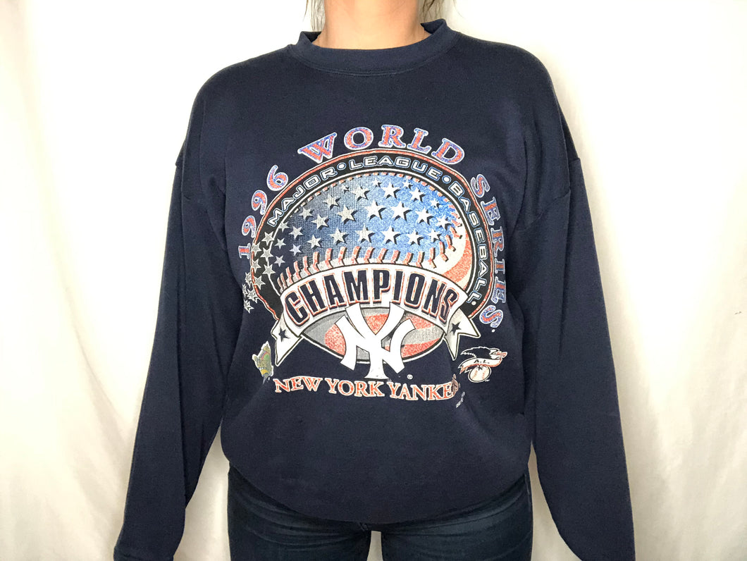 Vintage 1996 New York Yankees World Series Champs Crew - L