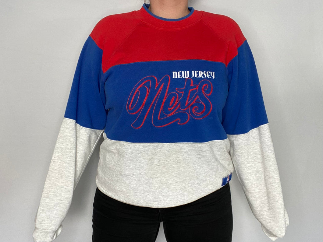 Vintage 1990s New Jersey Nets Nutmeg Mills Crew - L