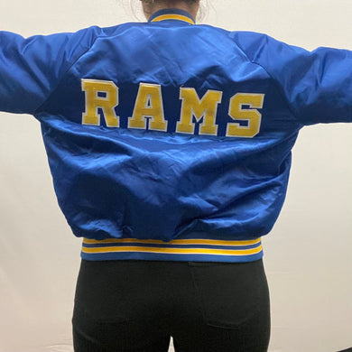 Vintage 1980s Los Angeles LA Rams Chalk Line Satin Bomber Jacket SPELL OUT - L