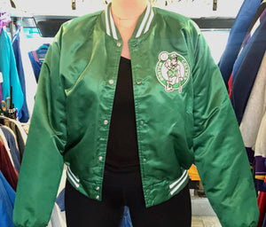 Vintage 80s Boston Celtics Satin Bomber STARTER JACKET SPELL OUT - Size XL