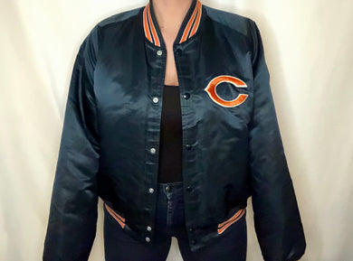 Vintage Chicago Bears Chalk Line Satin Bomber Jacket - XL