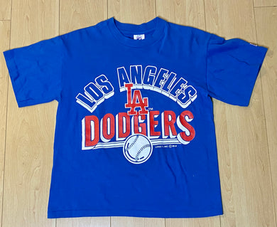 Vintage Late 80s-early 90s Los Angeles LA Dodgers Logo 7 TSHIRT - Youth Medium / Adult XS