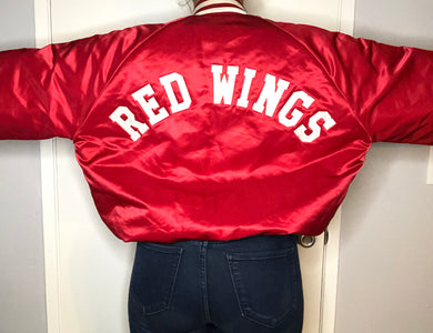 Vintage Detroit Red Wings Chalk Line Satin Bomber SPELL OUT - XL