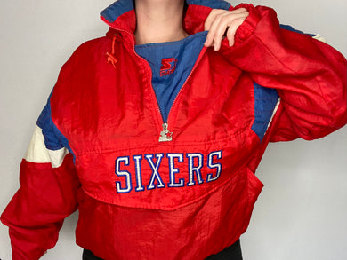 Vintage 1990s Philadelphia 76ers Sixers 1/4 Zip Pullover Anorak Puffer Jacket from STARTER - L