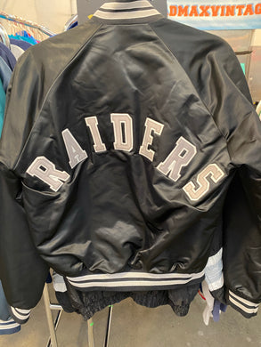 Vintage Los Angeles Raiders Chalk Line Satin Bomber Jacket SPELL OUT - S