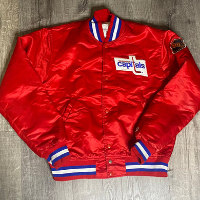 Vintage Washington Capitals Old Logo Satin Bomber STARTER Jacket - M