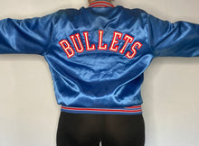 Load image into Gallery viewer, Vintage 1980s Washington Bullets Locker Line Satin Bomber Jacket SPELL OUT - L