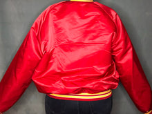 Load image into Gallery viewer, Vintage Kansas City Chiefs Chalk Line Satin Bomber Jacket - XL