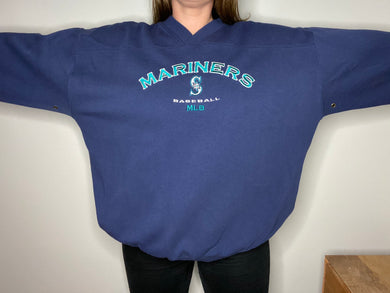 Vintage 1990s Seattle Mariners Old Logo Crew - XXL