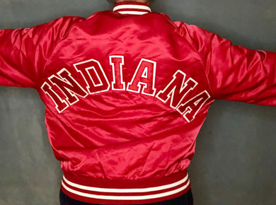 Vintage Indiana University Hoosiers SPELLOUT Satin Bomber Jacket - M