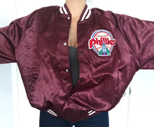 Load image into Gallery viewer, Vintage 1980s Philadelphia Phillies Old Logo Chalk Line Satin Bomber - XXL