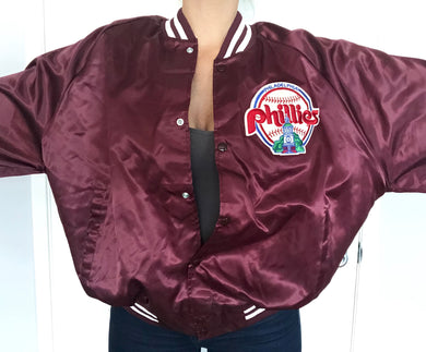 Vintage 1980s Philadelphia Phillies Old Logo Chalk Line Satin Bomber - XXL