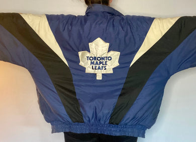 Vintage 1990s Toronto Maple Leafs Chalk Line Full Zip Anorak Puffer Jacket - XL/XXL