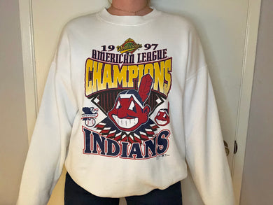 Vintage 1997 Cleveland Indians American League Champs Crew - XL