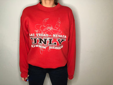 Vintage 1983-1996 UNLV University of Nevada, Las Vegas Runnin' Rebels Crew - L