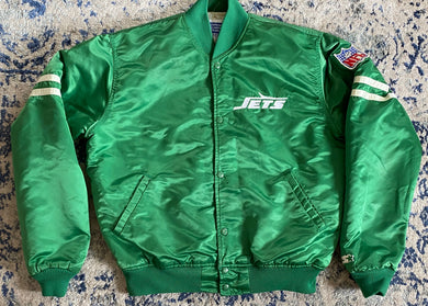 Vintage New York Jets Satin Bomber STARTER JACKET - L