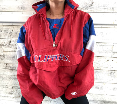 Vintage 90s Los Angeles LA Clippers STARTER JACKET Pullover 1/4 Zip Puffer - XL