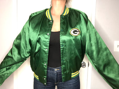 Green Bay Packers Chalk Line Satin Bomber - XL - Rad Max Vintage