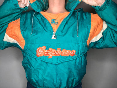 Vintage Miami Dolphins Starter Puffer Pullover Jacket - Youth Large