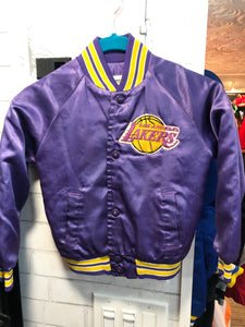Vintage LA Lakers TODDLER / CHILD Chalk Line Satin Bomber Jacket SPELL OUT - Size CHILD 6/7