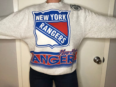 Vintage New York Rangers Double-Sided Crew - L