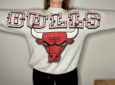 Vintage 90s Chicago Bulls Across Shoulder Crew SPELL OUT Crew - L