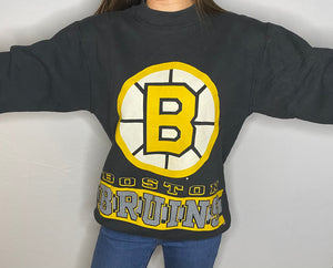 Vintage 1990s Boston Bruins Double-Sided Crew - Youth XL / Adult XS / S
