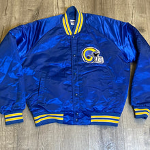Load image into Gallery viewer, Vintage 1980s Los Angeles LA Rams Chalk Line Satin Bomber Jacket SPELL OUT - L