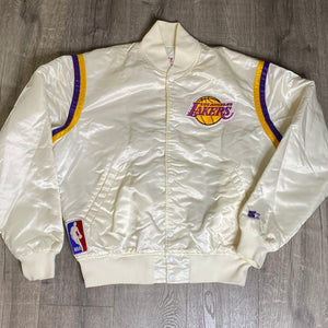 Vintage 1980s Los Angeles LA Lakers Satin Bomber STARTER JACKET in WHITE - L