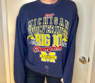 Vintage 1997 University of Michigan Big 10 Champions Crew - L