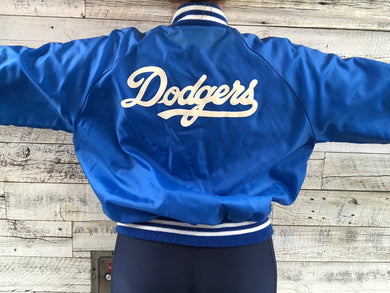 Vintage 80s Los Angeles Dodgers Double-Sided Satin Bomber Jacket - XL