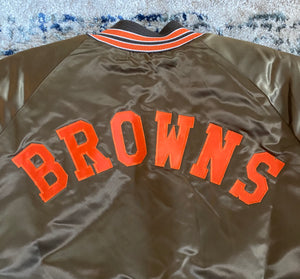 Vintage Cleveland Browns Chalk Line Satin Bomber Jacket with Spell Out - Size XXL