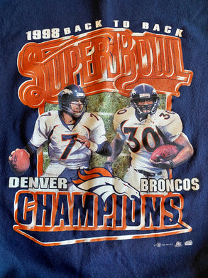 Vintage 1999 Denver Broncos Back to Back Super Bowl Champs Crew - 2XL / 3XL