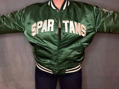 Vintage Michigan State University MSU Spartans SPELLOUT Starter Jacket - L