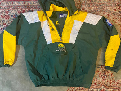 Vintage Seattle SuperSonics OLD LOGO STARTER Pullover Anorak Jacket - XL