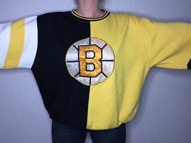 Vintage 1990s Boston Bruins Color Block Starter Crewneck - XL/XXL