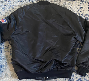 Vintage New Orleans Saints Chalk Line Satin Bomber Jacket - M