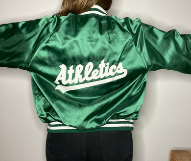 Vintage 80s Oakland A's DOUBLE-SIDED Satin Bomber Jacket from Swingster - L