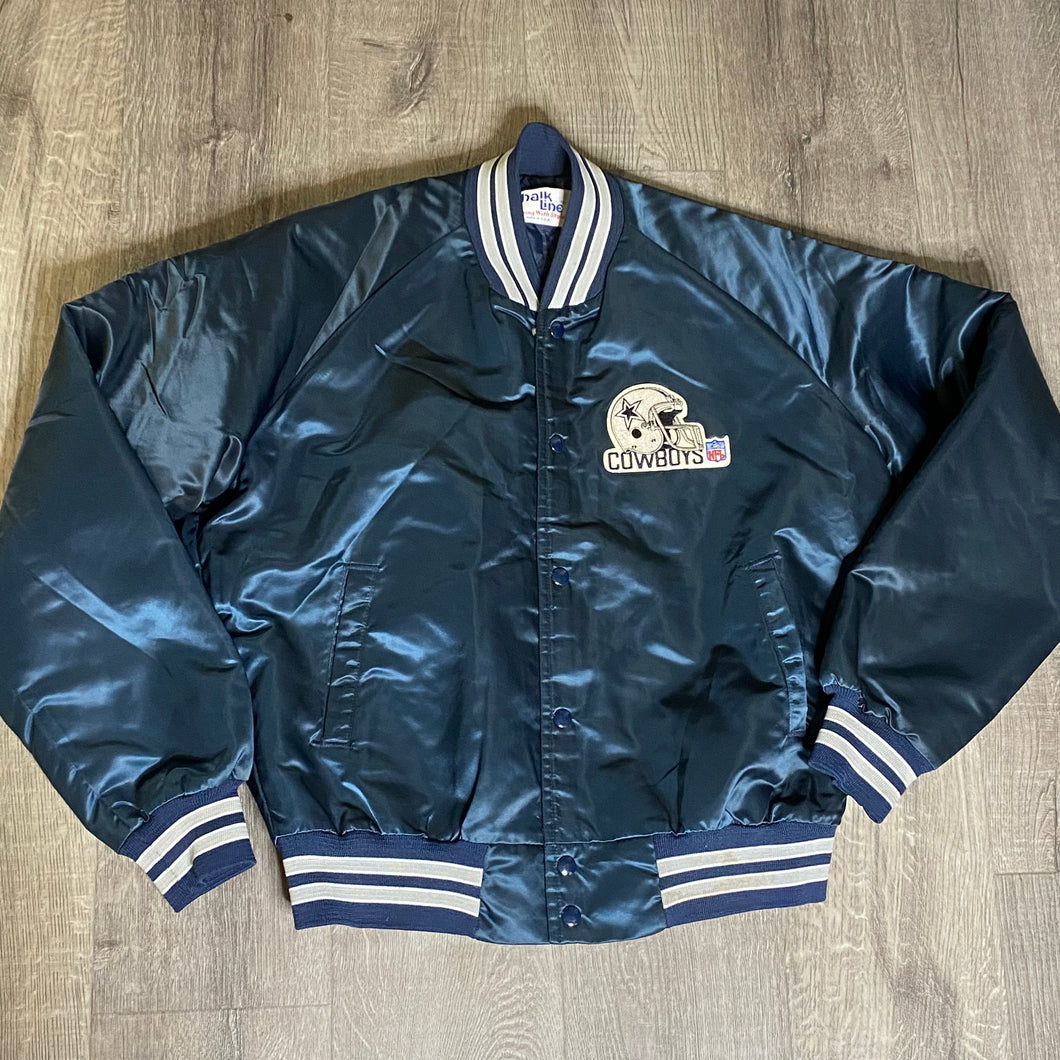 Vintage 1980s Dallas Cowboys Chalk Line Satin Bomber Jacket - L