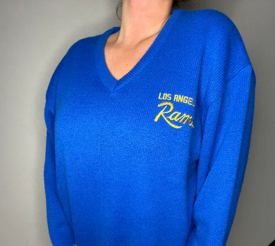 Vintage 1980s Los Angeles LA Rams VNECK Sweater from Starter - XL