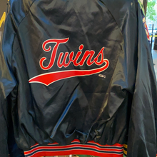 Load image into Gallery viewer, Vintage 1992 Minnesota Twins Locker Line Satin Bomber Jacket SPELL OUT - L