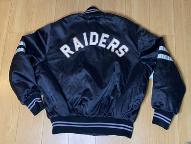 Vintage 1980s Los Angeles LA Raiders Satin Bomber Jacket SPELL OUT from Shain of Canada - XL