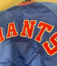 Load image into Gallery viewer, Vintage New York Giants Chalk Line Satin Bomber Jacket SPELL OUT - L