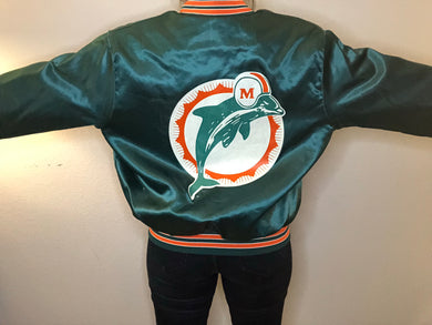 Vintage Miami Dolphins Chalk Line Double-Sided Satin Bomber - L