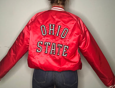 Vintage Ohio State University OSU Satin Bomber Jacket SPELL OUT - XL