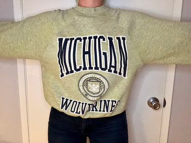 Vintage 1980s University of Michigan Wolverines Crew - S