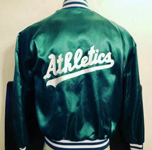 Load image into Gallery viewer, Vintage 80s Oakland A's DOUBLE-SIDED Satin Bomber Jacket from Swingster - L